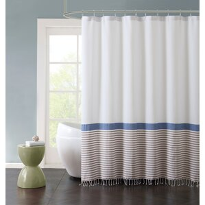 "McCartner Hugo Striped Cotton Fringe 72"" X 72"" Shower Curtain"