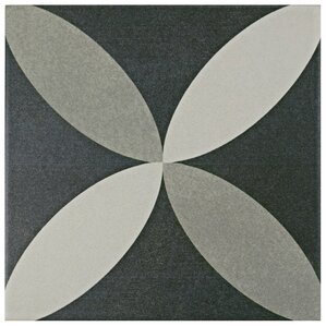 "Forcier 7.75"" x 7.75"" Ceramic Floor and Wall Tile in Petal White and Gray"