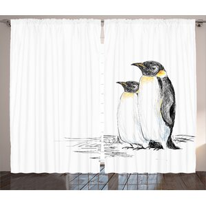 Choose the Best Queenie Graphic Print and Text Semi-Sheer Rod Pocket Curtain Panels (Set of 2)