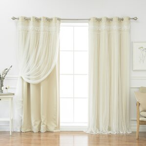Layla Lace Overlay Thermal Blackout Energy Efficient Grommet Curtain Panel Pair (Set of 2)