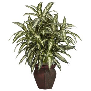 Faux Aglaonema Floor Plant in Decorative Vase