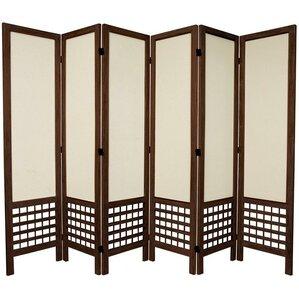 "Highland 67"" Tall Open Lattice Fabric 6-Panel Room Divider"