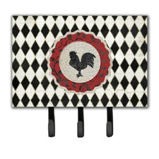 Rooster Harlequin and Leash Holder and Key Hook by Caroline's Treasures