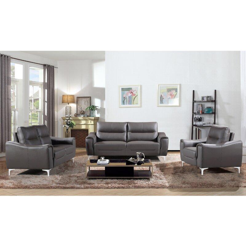 Orren ellis malissa modern stationary 3 piece living room for Wg r living room sets