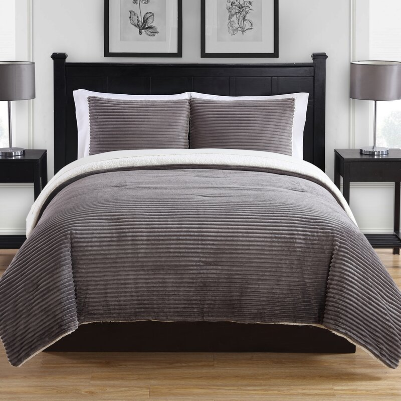 ribbed plush 3 piece comforter set