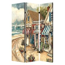 72 x 48 Seaside Town 3 Panel Room Divider by Screen Gems