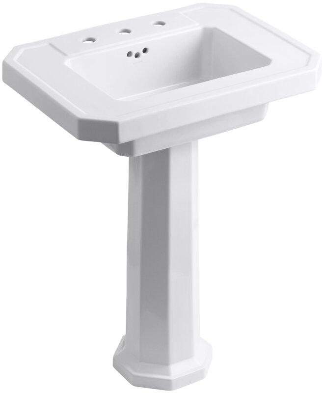 """kohler kathryn 27"""" pedestal bathroom sink with overflow & reviews"""