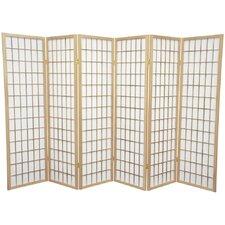 Noan 58.75 x 84 Window Pane Shoji 6 Panel Room Divider by World Menagerie