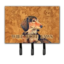 Longhair Chocolate Dachshund Wipe Your Paws Leash Holder and Key Hook by Caroline's Treasures