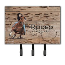 Rodeo Cowgirl Barrel Racer Leash Holder and Key Hook by Caroline's Treasures