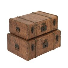 2 Piece Wood/Leather Trunk Set by Cole & Grey