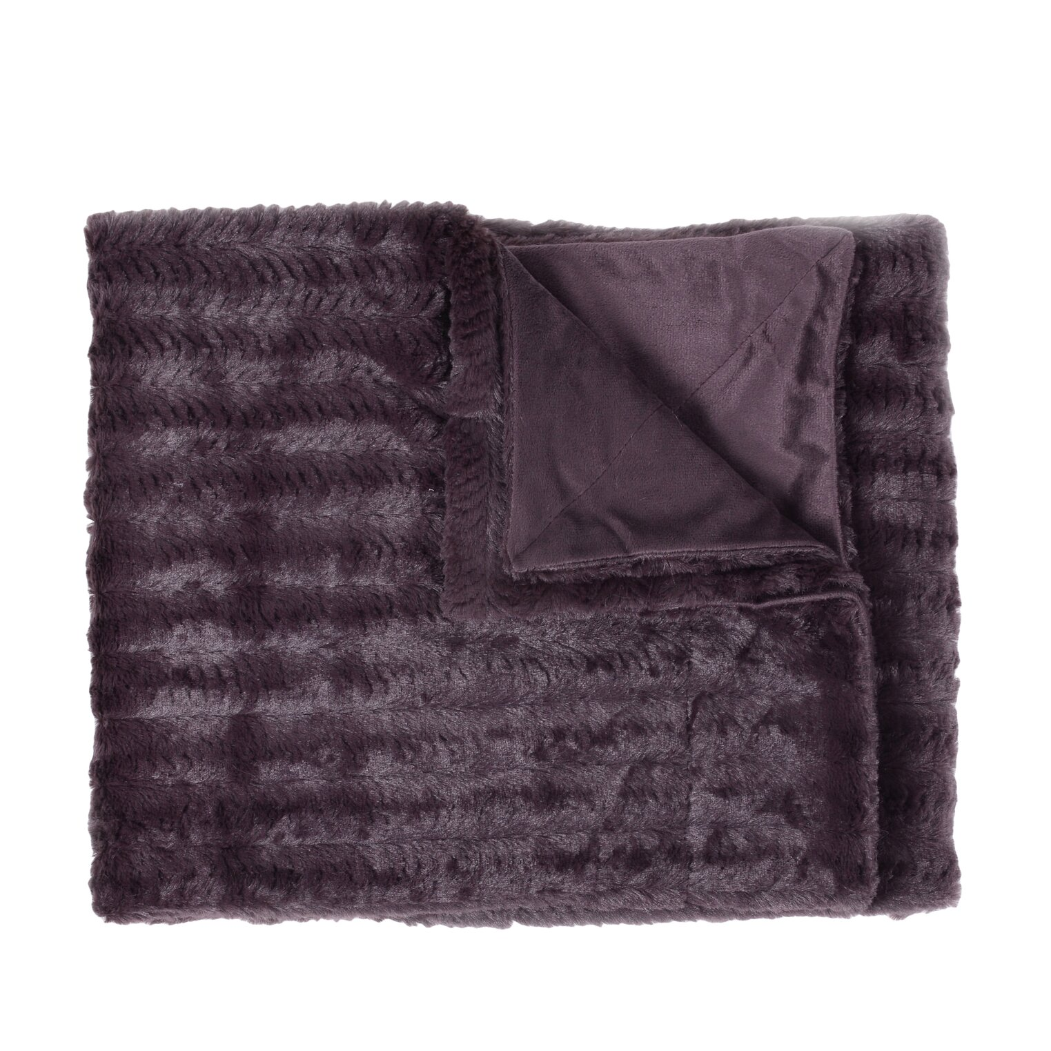 rib decorative reversible faux fur and mink throw blanket - Decorative Throw Blankets