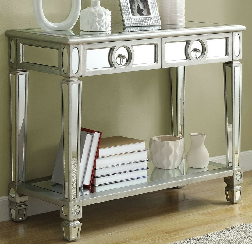 Willa Arlo Interiors Enya 2 Drawer Mirrored Console Table Reviews