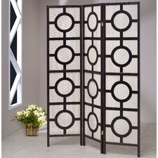 72 X 54 Jute Screen With Circle 3 Panel Room Divider