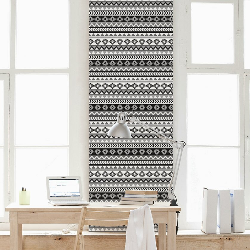 Wallums wall decor aztec removable wallpaper tile for Wayfair bathroom wallpaper
