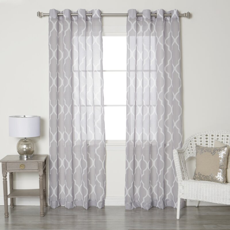 best home fashion, inc. moroccan grommet top sheer curtain panels