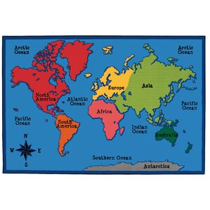Value Plus World Map Area Rug