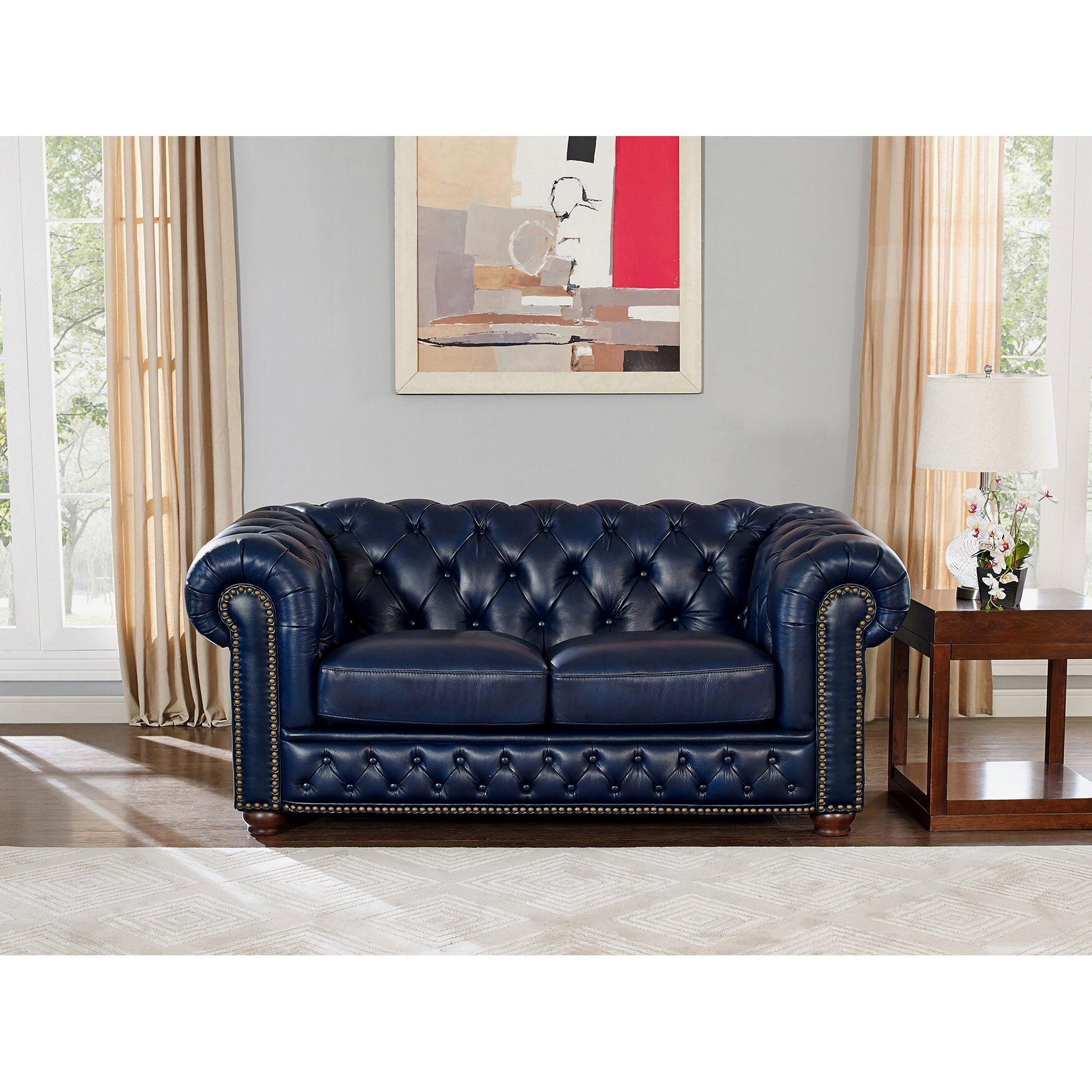 Corbett leather sofa and loveseat set