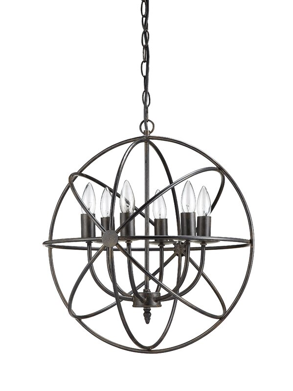 lighting guide Modern industrial Iron Orb 6-light Chandelier