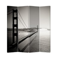 East Rolstone 71 x 69 Double Sided Painted Canvas 4 Panel Room Divider by Latitude Run