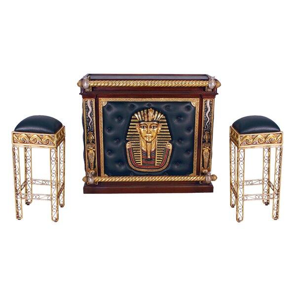 design toscano egyptian bar set with wine storage | wayfair