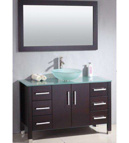 """brayden studio meserve solid wood glass vessel 48"""" single bathroom"""