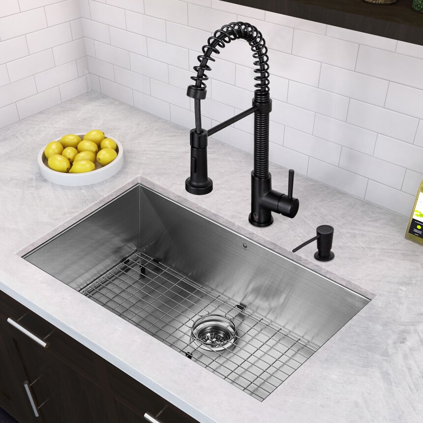 32 inch undermount single bowl 16 gauge stainless steel kitchen sink with edison matte black faucet - Stainless Steel Kitchen Sink Gauge