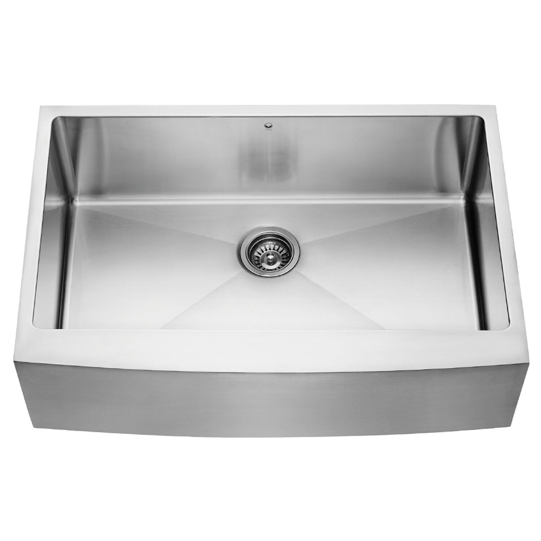 alma 33 inch farmhouse apron single bowl 16 gauge stainless steel kitchen sink - Stainless Steel Kitchen Sink Gauge