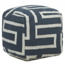 Textured Contemporary Pouf Ottoman by Chandra Rugs