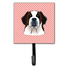 Checkerboard Saint Bernard Leash Holder and Wall Hook by Caroline's Treasures