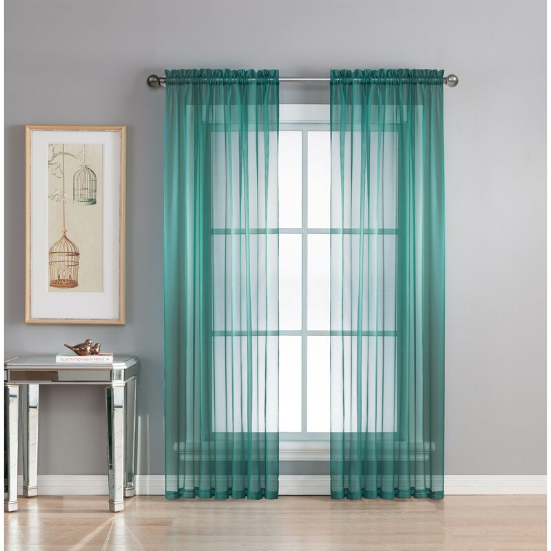 window elements diamond solid sheer rod pocket curtain panels