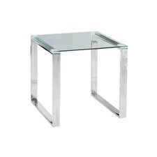 Stainless Steel and Glass End Table by Sagebrook Home