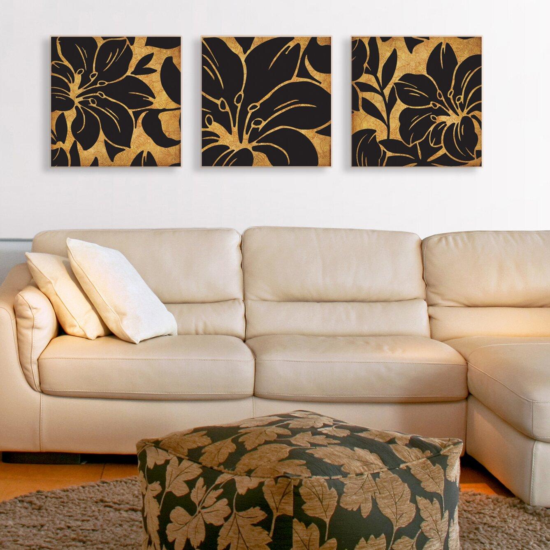 Floral Print 3 Piece Canvas Wall Art Set