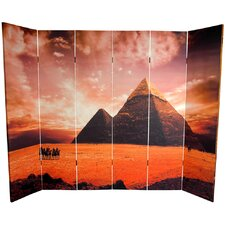70.88 x 94.5 Double Sided Egyptian Pyramid 6 Panel Room Divider by Oriental Furniture