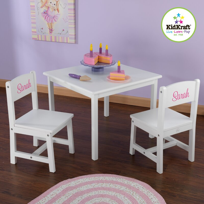KidKraft Personalized Aspen Kids 3 Piece Table and Chair Set