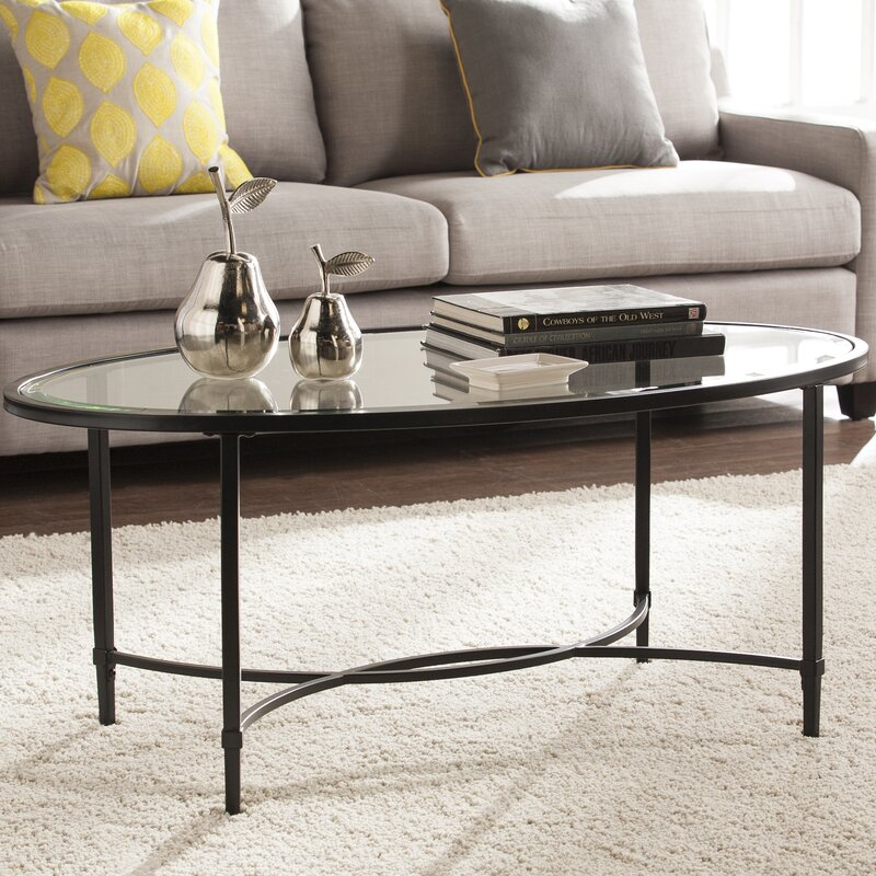 charlton home sherrodsville metal/glass coffee table & reviews