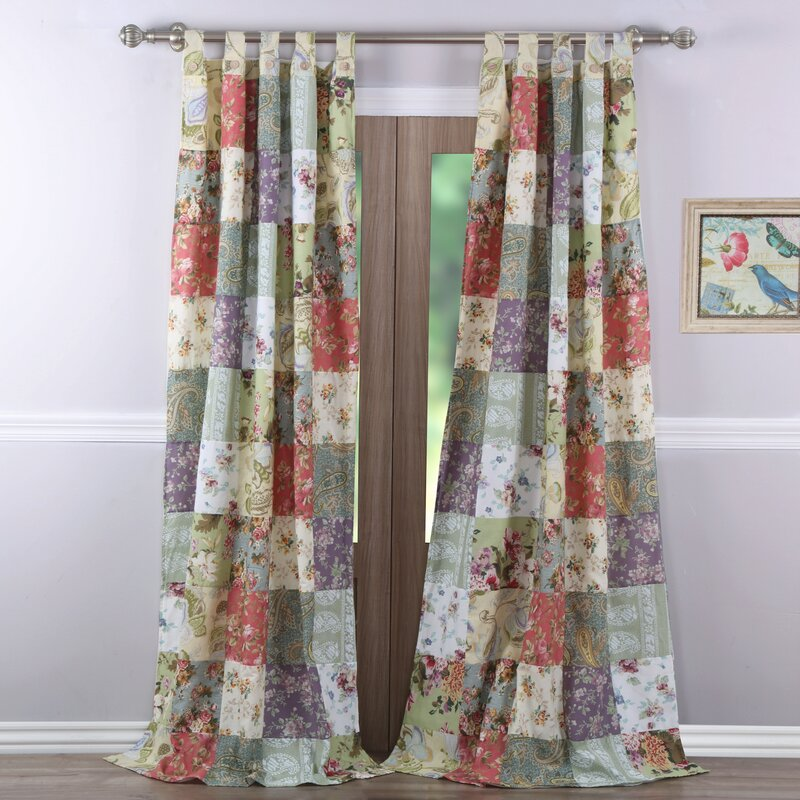 August Grove Bauer Patchwork Sheer Tab Top Curtain Panels Reviews