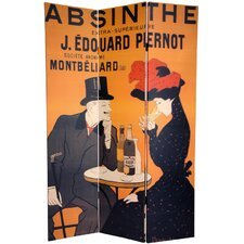 72 x 55 Double Sided Absinthe 3 Panel Room Divider by Oriental Furniture