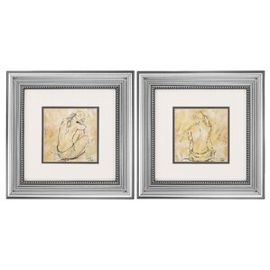 2-Piece Sketch Framed Painting Print Set