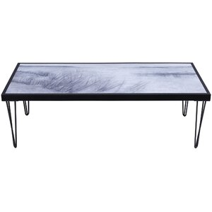 Rosio Beach Side Artwork Top Wood Coffee Table by Highland Dunes
