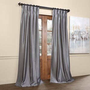 Amazing Forbell Solid Blackout Vintage Textured Faux Dupioni Thermal Pinch Pleat  Single Curtain Panel