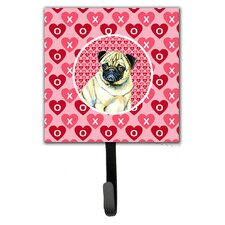 Pug Valentine's Love and Hearts Leash Holder and Wall Hook by Caroline's Treasures
