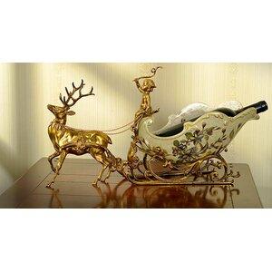 Classical Sleigh Deer Craft Tabletop Wine Bottle Rack Westmen Lights