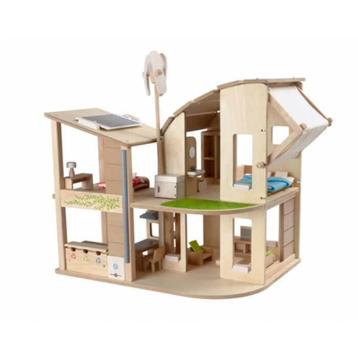Green+Dollhouse+with+Furniture plan toys green dollhouse with furniture & reviews wayfair,Plan Toys Dolls House Furniture