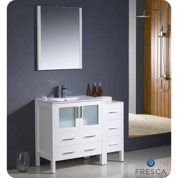Fresca torino 42 single modern bathroom vanity set with - Custom size bathroom vanity tops ...