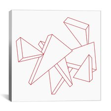 Modern Stencil Triangles Graphic Art on Wrapped Canvas
