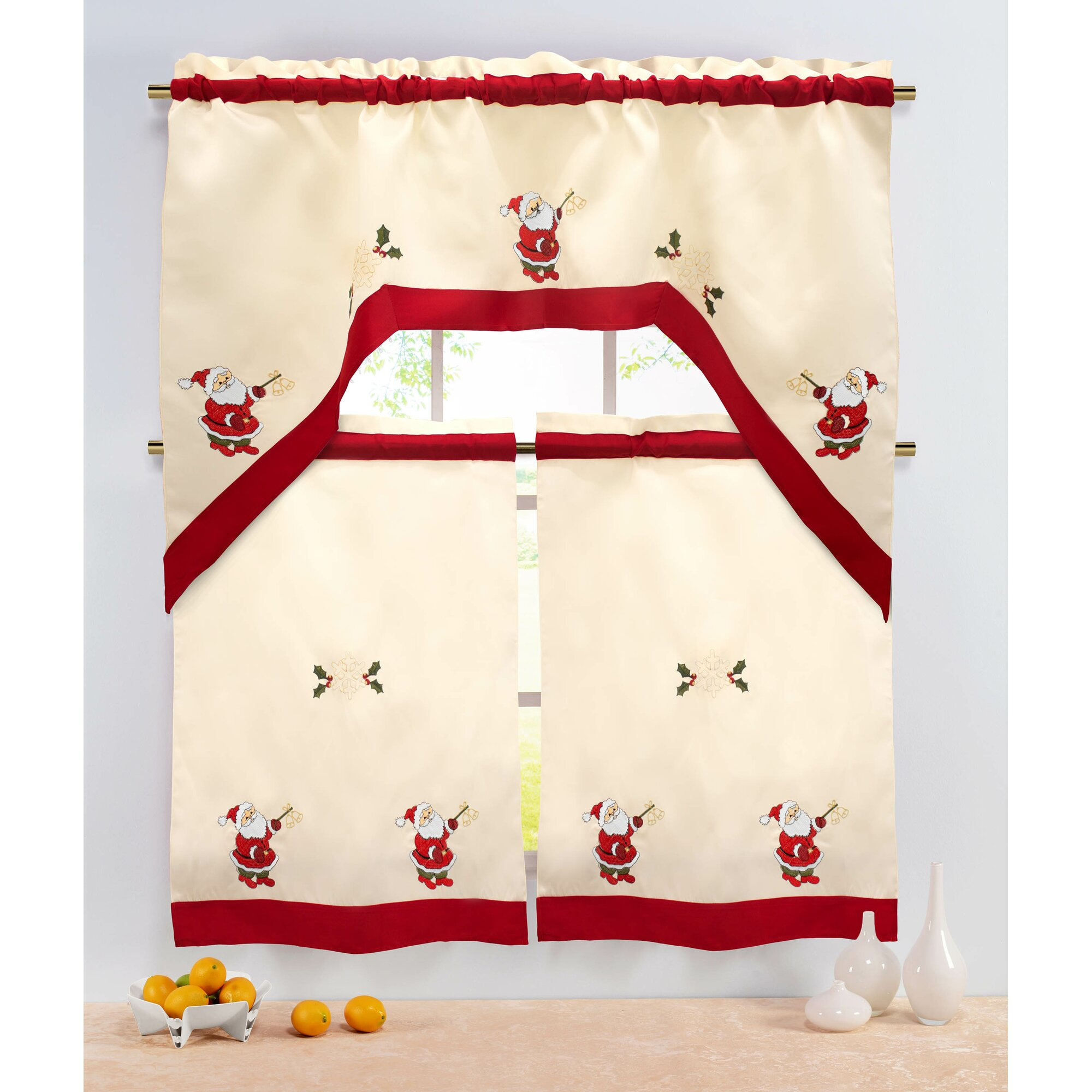 Kitchen Christmas Curtains Amazon Com: The Holiday Aisle Holiday Santa Embroidered Sheer 3 Piece