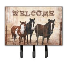 Welcome Mat with Horses Leash Holder and Key Hook by Caroline's Treasures