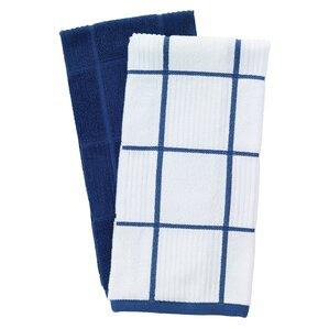 2 Piece Solid And Check Parquet Kitchen Dishcloth Set