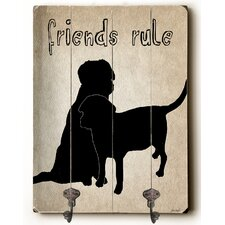 Friends Rule Planked Wood Wall Mounted Coat Rack by Ebern Designs